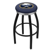 L8B2C - Black Wrinkle Buffalo Sabres Swivel Bar Stool with Chrome Accent Ring by Holland Bar Stool Company