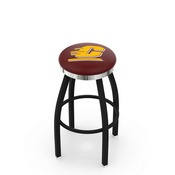 L8B2C - Black Wrinkle Central Michigan Swivel Bar Stool with Chrome Accent Ring by Holland Bar Stool Company