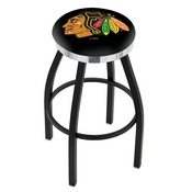L8B2C - Black Wrinkle Chicago Blackhawks Swivel Bar Stool with Chrome Accent Ring by Holland Bar Stool Company
