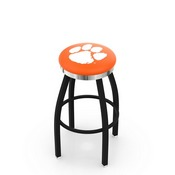 L8B2C - Black Wrinkle Clemson Swivel Bar Stool with Chrome Accent Ring by Holland Bar Stool Company