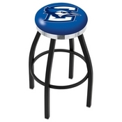 L8B2C - Black Wrinkle Creighton Swivel Bar Stool with Chrome Accent Ring by Holland Bar Stool Company