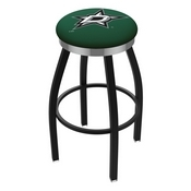 L8B2C - Black Wrinkle Dallas Stars Swivel Bar Stool with Chrome Accent Ring by Holland Bar Stool Company