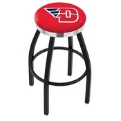 L8B2C - Black Wrinkle University of Dayton Swivel Bar Stool with Chrome Accent Ring by Holland Bar Stool Company