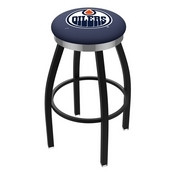 L8B2C - Black Wrinkle Edmonton Oilers Swivel Bar Stool with Chrome Accent Ring by Holland Bar Stool Company
