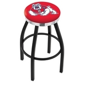 L8B2C - Black Wrinkle Fresno State Swivel Bar Stool with Chrome Accent Ring by Holland Bar Stool Company