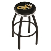L8B2C - Black Wrinkle Georgia Tech Swivel Bar Stool with Chrome Accent Ring by Holland Bar Stool Company