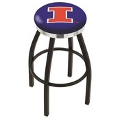 L8B2C - Black Wrinkle Illinois Swivel Bar Stool with Chrome Accent Ring by Holland Bar Stool Company