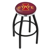 L8B2C - Black Wrinkle Iowa State Swivel Bar Stool with Chrome Accent Ring by Holland Bar Stool Company