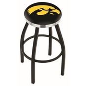 L8B2C - Black Wrinkle Iowa Swivel Bar Stool with Chrome Accent Ring by Holland Bar Stool Company