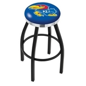 L8B2C - Black Wrinkle Kansas Swivel Bar Stool with Chrome Accent Ring by Holland Bar Stool Company
