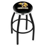 L8B2C - Black Wrinkle Missouri Western State Swivel Bar Stool with Chrome Accent Ring by Holland Bar Stool Company