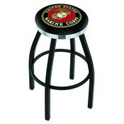L8B2C - Black Wrinkle U.S. Marines Swivel Bar Stool with Chrome Accent Ring by Holland Bar Stool Company