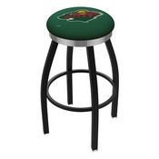 L8B2C - Black Wrinkle Minnesota Wild Swivel Bar Stool with Chrome Accent Ring by Holland Bar Stool Company