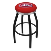 L8B2C - Black Wrinkle Montreal Canadiens Swivel Bar Stool with Chrome Accent Ring by Holland Bar Stool Company