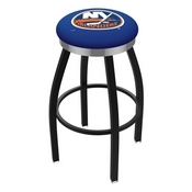 L8B2C - Black Wrinkle New York Islanders Swivel Bar Stool with Chrome Accent Ring by Holland Bar Stool Company