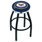 L8B2C - Black Wrinkle U.S. Navy Swivel Bar Stool with Chrome Accent Ring by Holland Bar Stool Company