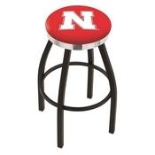 L8B2C - Black Wrinkle Nebraska Swivel Bar Stool with Chrome Accent Ring by Holland Bar Stool Company