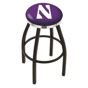 L8B2C - Black Wrinkle Northwestern Swivel Bar Stool with Chrome Accent Ring by Holland Bar Stool Company
