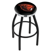 L8B2C - Black Wrinkle Oregon State Swivel Bar Stool with Chrome Accent Ring by Holland Bar Stool Company