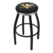 L8B2C - Black Wrinkle Pittsburgh Penguins Swivel Bar Stool with Chrome Accent Ring by Holland Bar Stool Company