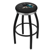L8B2C - Black Wrinkle San Jose Sharks Swivel Bar Stool with Chrome Accent Ring by Holland Bar Stool Company