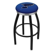 L8B2C - Black Wrinkle St Louis Blues Swivel Bar Stool with Chrome Accent Ring by Holland Bar Stool Company