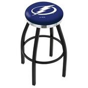 L8B2C - Black Wrinkle Tampa Bay Lightning Swivel Bar Stool with Chrome Accent Ring by Holland Bar Stool Company