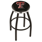 L8B2C - Black Wrinkle Texas Tech Swivel Bar Stool with Chrome Accent Ring by Holland Bar Stool Company