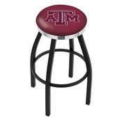 L8B2C - Black Wrinkle Texas A&M Swivel Bar Stool with Chrome Accent Ring by Holland Bar Stool Company