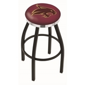 L8B2C - Black Wrinkle Texas State Swivel Bar Stool with Chrome Accent Ring by Holland Bar Stool Company