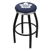 L8B2C - Black Wrinkle Toronto Maple Leafs Swivel Bar Stool with Chrome Accent Ring by Holland Bar Stool Company
