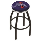 L8B2C - Black Wrinkle Tulsa Swivel Bar Stool with Chrome Accent Ring by Holland Bar Stool Company