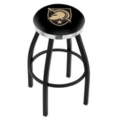 L8B2C - Black Wrinkle US Military Academy (ARMY) Swivel Bar Stool with Chrome Accent Ring by Holland Bar Stool Company