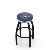 L8B2C - Black Wrinkle US Naval Academy (NAVY) Swivel Bar Stool with Chrome Accent Ring by Holland Bar Stool Company
