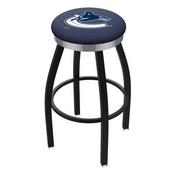 L8B2C - Black Wrinkle Vancouver Canucks Swivel Bar Stool with Chrome Accent Ring by Holland Bar Stool Company