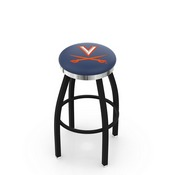 L8B2C - Black Wrinkle Virginia Swivel Bar Stool with Chrome Accent Ring by Holland Bar Stool Company