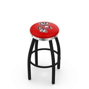 L8B2C - Black Wrinkle Wisconsin Badger Swivel Bar Stool with Chrome Accent Ring by Holland Bar Stool Company