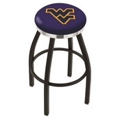 L8B2C - Black Wrinkle West Virginia Swivel Bar Stool with Chrome Accent Ring by Holland Bar Stool Company