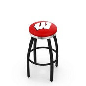 L8B2C - Black Wrinkle Wisconsin W Swivel Bar Stool with Chrome Accent Ring by Holland Bar Stool Company