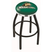 L8B2C - Black Wrinkle Wright State Swivel Bar Stool with Chrome Accent Ring by Holland Bar Stool Company