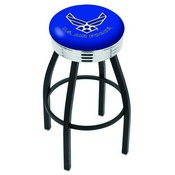 L8B3C - Black Wrinkle U.S. Air Force Swivel Bar Stool with Chrome 2.5 Ribbed Accent Ring by Holland Bar Stool Company