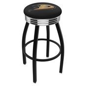 L8B3C - Black Wrinkle Anaheim Ducks Swivel Bar Stool with Chrome 2.5 Ribbed Accent Ring by Holland Bar Stool Company