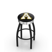 L8B3C - Black Wrinkle Appalachian State Swivel Bar Stool with Chrome 2.5 Ribbed Accent Ring by Holland Bar Stool Company