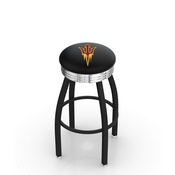 L8B3C - Black Wrinkle Arizona State Swivel Bar Stool with Chrome 2.5 Ribbed Accent Ring and Pitchfork Logo by Holland Bar Stool Company