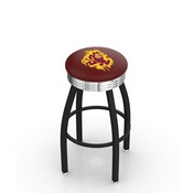 L8B3C - Black Wrinkle Arizona State Swivel Bar Stool with Chrome 2.5 Ribbed Accent Ring and Sparky Logo by Holland Bar Stool Company