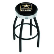L8B3C - Black Wrinkle U.S. Army Swivel Bar Stool with Chrome 2.5 Ribbed Accent Ring by Holland Bar Stool Company