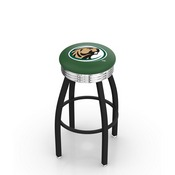 L8B3C - Black Wrinkle Bemidji State Swivel Bar Stool with Chrome 2.5 Ribbed Accent Ring by Holland Bar Stool Company