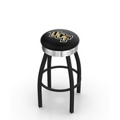 L8B3C - Black Wrinkle Central Florida Swivel Bar Stool with Chrome 2.5 Ribbed Accent Ring by Holland Bar Stool Company