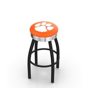 L8B3C - Black Wrinkle Clemson Swivel Bar Stool with Chrome 2.5 Ribbed Accent Ring by Holland Bar Stool Company