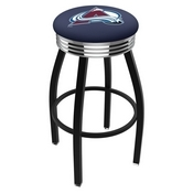 L8B3C - Black Wrinkle Colorado Avalanche Swivel Bar Stool with Chrome 2.5 Ribbed Accent Ring by Holland Bar Stool Company